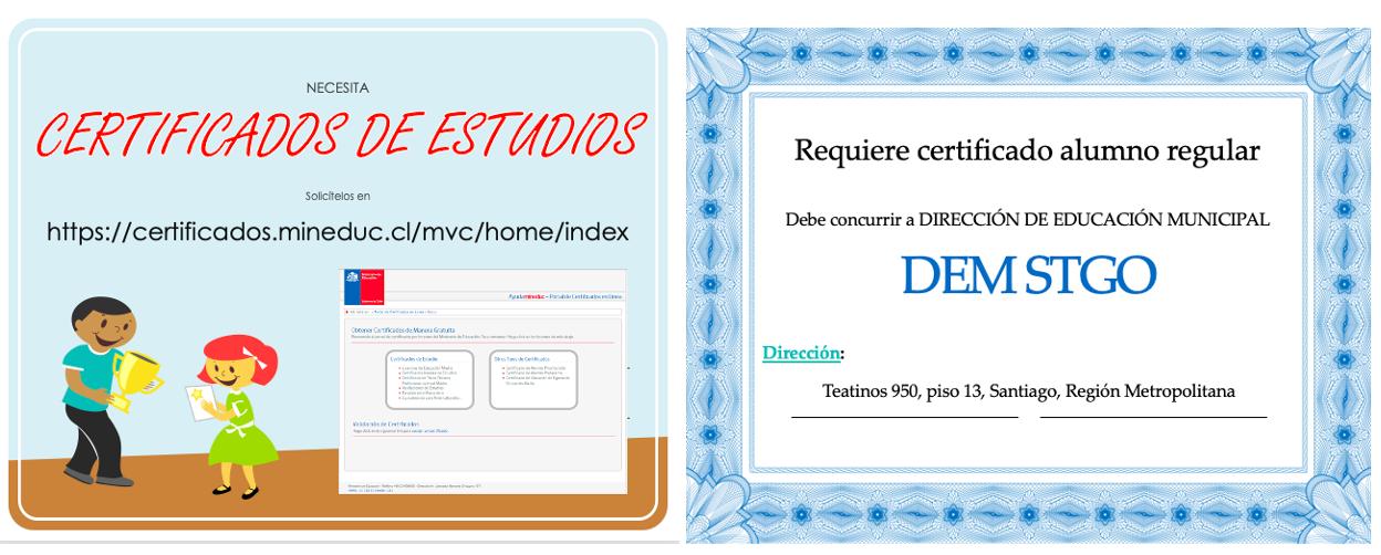 Certificados de Estudios,  alumno regular, TNE.